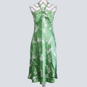 Loft Silk Rayon Tropical Leaf Halter Dress 8